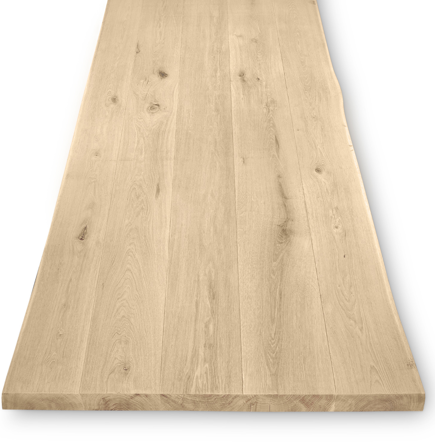 Tischplatte Wildeiche baumkante - 4,5 cm dick - verschiedene Größen - Asteiche (rustikal) - Gebürstet - Eiche Tischplatte mit  natürlichen Baumkant - Verleimt & künstlich getrocknet (HF 8-12%)