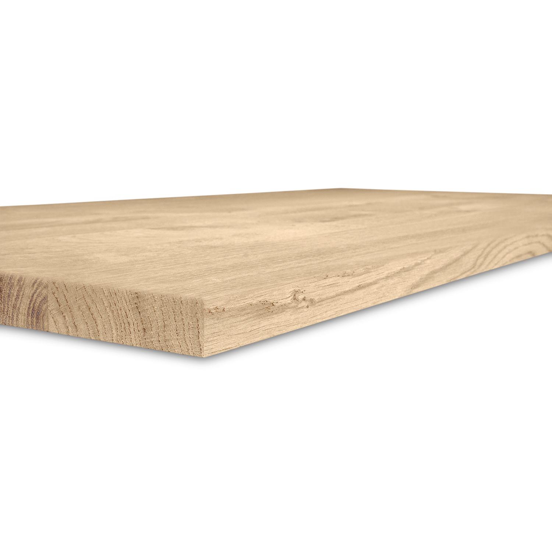 Waschtischplatte Eiche (mit Loch / Löchern) - nach Maß - 3 cm dick (massivholz) - Eichenholz rustikal - Eichen Waschtisch / Waschbecken Unterschrank (für Aufsatzwaschbecken) - verleimt & künstlich getrocknet (HF 8-12%) - 15-120x20-350 cm