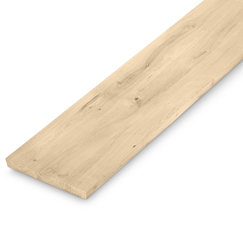Bankplatte Wildeiche - 4 cm dick (1-Schicht massiv) - 40x160-300 cm - verschiedene Längen - Asteiche (rustikal) - Eichenplatte für eine (Sitz)bank  - Verleimt & künstlich getrocknet (HF 8-12%)