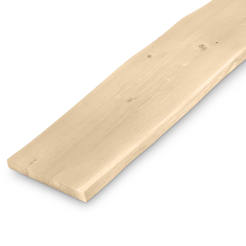 Bankplatte Wildeiche Baumkante - 4 cm dick (1-Schicht massiv) - 40x160-300 cm - verschiedene Längen - Asteiche (rustikal) - Eichenplatte für eine (Sitz)bank  mit natürlichen Baumkant - Verleimt & künstlich getrocknet (HF 8-12%)