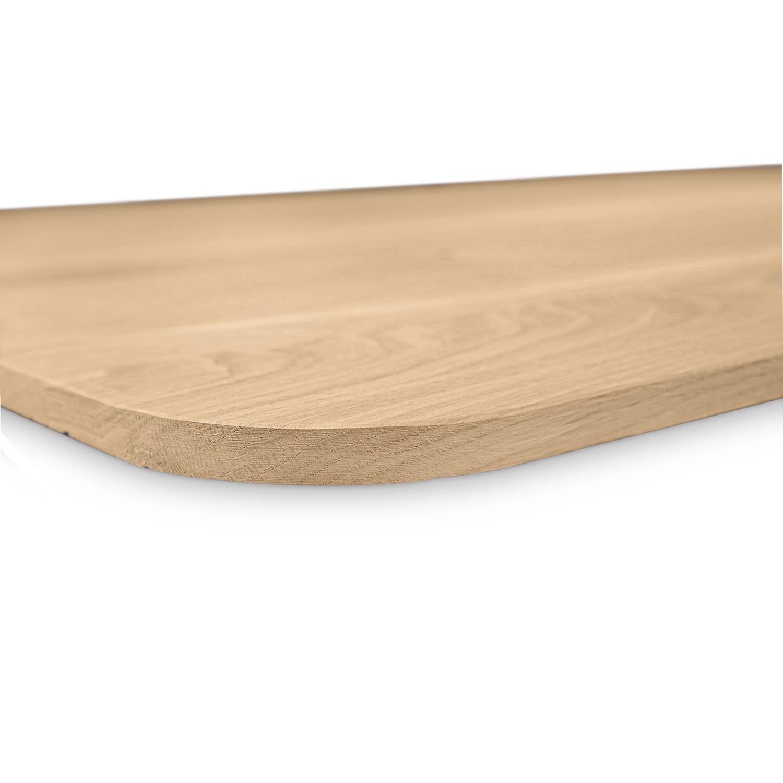 Tischplatte Eiche mit runden Ecken - nach Maß - 2 cm dick - Eichenholz rustikal - Gebürstet - Eiche Tischplatte massiv - verleimt & künstlich getrocknet (HF 8-12%) - mit abgerundeten Kanten - 50-120x50-350 cm