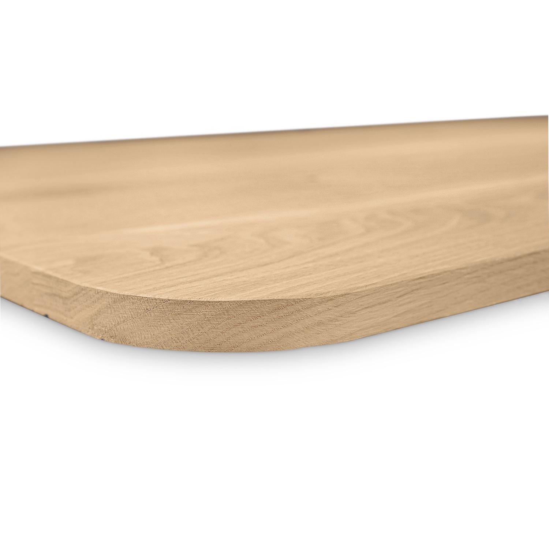 Tischplatte Eiche mit runden Ecken - nach Maß - 3 cm dick - Eichenholz rustikal - Gebürstet - Eiche Tischplatte massiv - verleimt & künstlich getrocknet (HF 8-12%) - mit abgerundeten Kanten - 50-120x50-350 cm