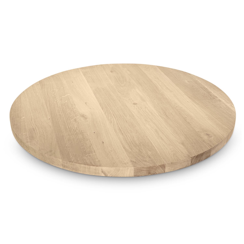 Tischplatte Wildeiche rund - 4 cm dick - Asteiche (rustikal) - Eiche Tischplatte rund massiv - Verleimt & künstlich getrocknet (HF 8-12%)