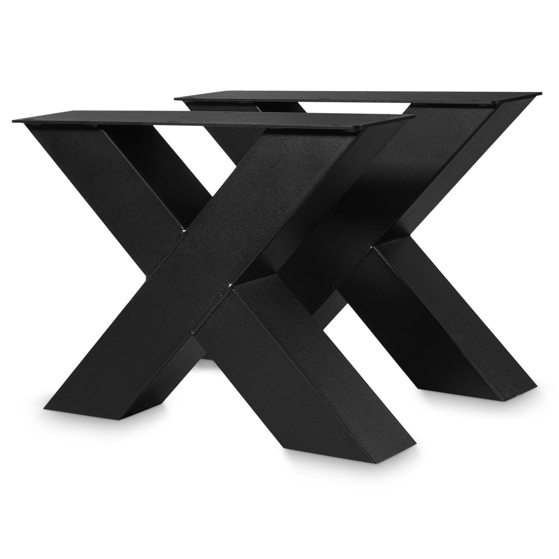 Couchtisch Beine X Metall SET (2 Stück) - 10x10 cm - 56 cm breit - 41 cm hoch - X-Form Tischbeine / Tischkufen Couchtisch - beschichtet - Schwarz