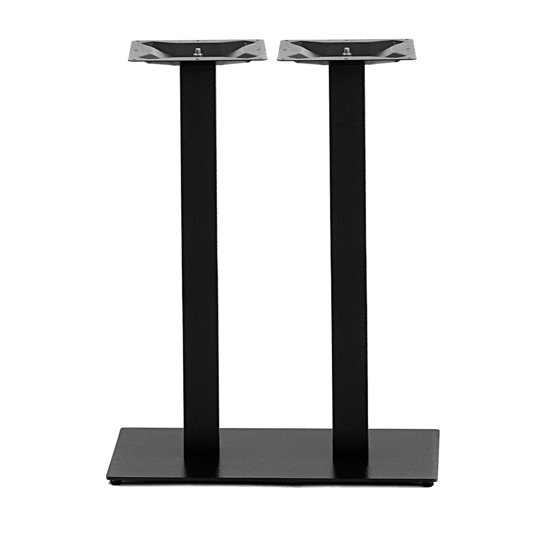 Gusseisen stehtischgestell (Füße) doppelt - 8x8 cm - 40x70 cm (Fußplatte) -108 cm hoch - 3-Teilig - Hochtisch / Bartisch - Tischfuß / Mittelfuß - Beschichtet - Schwarz
