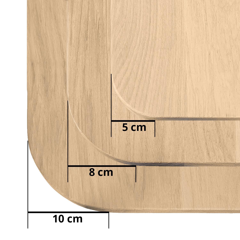 Tischplatte Eiche mit runden Ecken - nach Maß - 2 cm dick - Eichenholz A-Qualität - Eiche Tischplatte massiv - verleimt & künstlich getrocknet (HF 8-12%) - mit abgerundeten Kanten - 50-120x50-350 cm