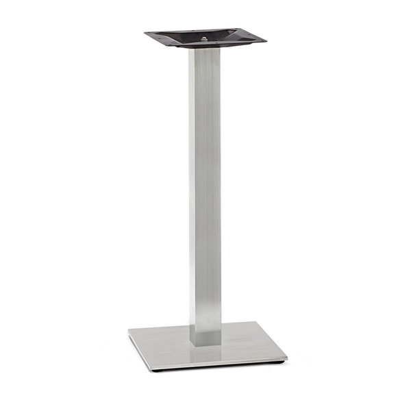 Gusseisen stehtischgestell (Fuß) - Edelstahl optik - 8x8 cm - 40x40 cm (Fußplatte) -108 cm hoch