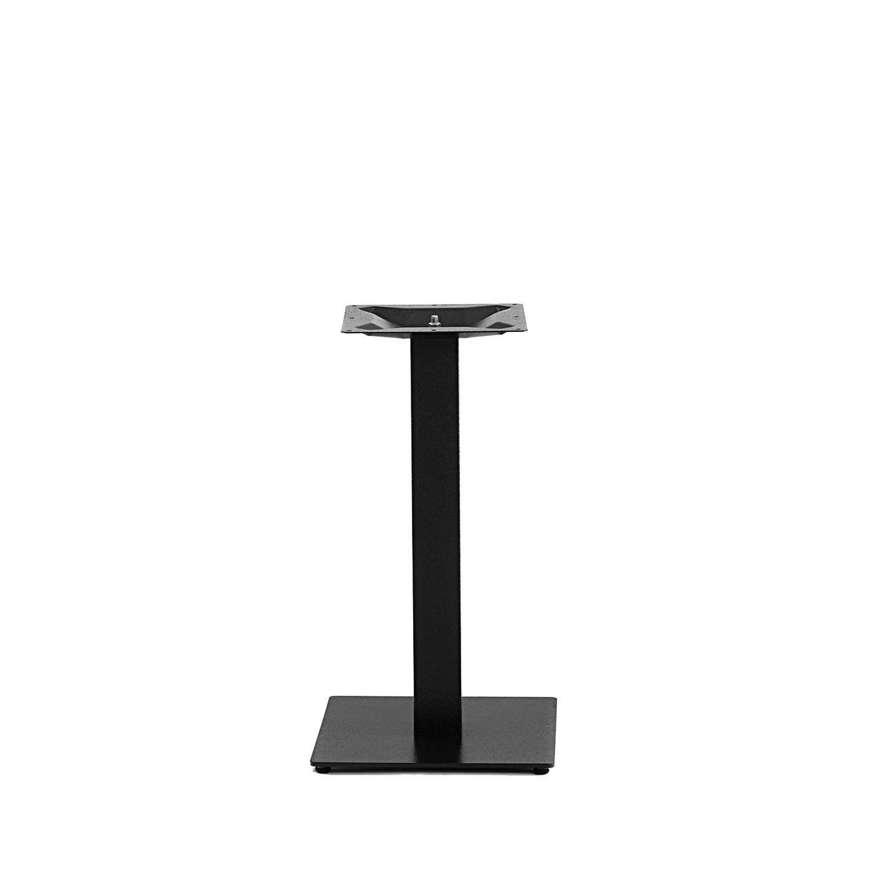 Gusseisen Bistrotisch Gestell (Fuß) - 8x8 cm - 40x40 cm (Fußplatte) - 3-teilig - Gastro Tischgestell / Tischfuß / Mittelfuß - Rund / Quadratisch - Beschichtet - Schwarz