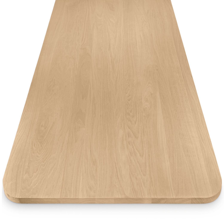 Tischplatte Eiche mit runden Ecken - nach Maß - 4 cm dick - Eichenholz A-Qualität - Eiche Tischplatte massiv - verleimt & künstlich getrocknet (HF 8-12%) - mit abgerundeten Kanten - 50-120x50-350 cm