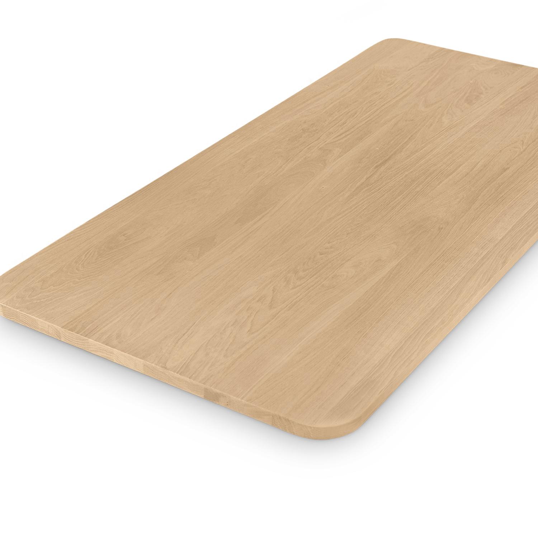 Tischplatte Eiche mit runden Ecken - nach Maß - 4 cm dick - Eichenholz A-Qualität - Eiche Tischplatte massiv - verleimt & künstlich getrocknet (HF 8-12%) - mit abgerundeten Kanten - 50-120x50-350 cm - Gebürstet