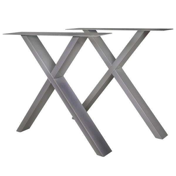 Tischbeine X Edelstahl elegant SET (2 Stück) - 10x4 cm - 77-78 cm breit - 72 cm hoch