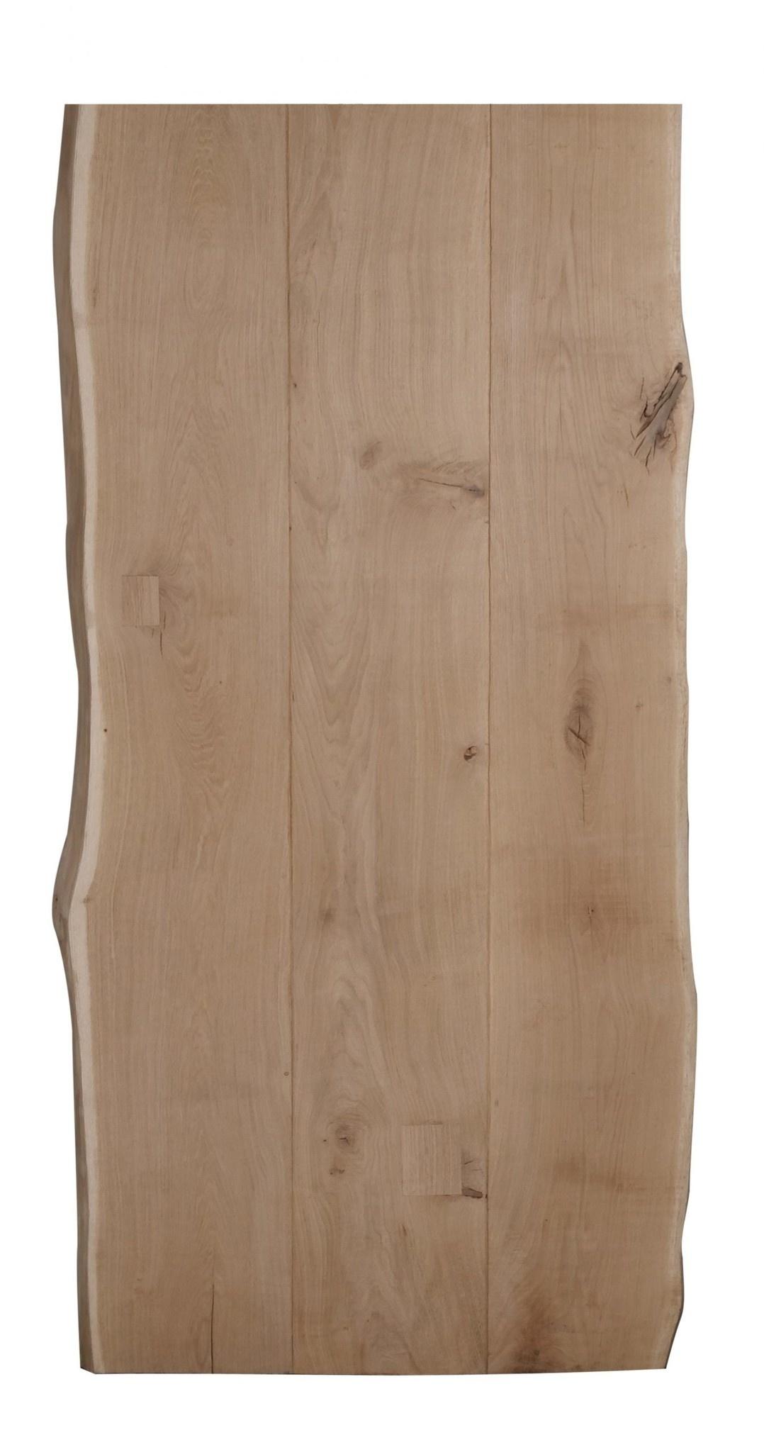 Tischplatte Wildeiche Baumkante LUXUS (3-Lamellen) - 4,5 cm dick - verschiedene Größen - Asteiche (rustikal) - Gebürstet + V-Fugen - Eiche Tischplatte mit natürlichen Baumkant - Verleimt & künstlich getrocknet (HF 8-12%)