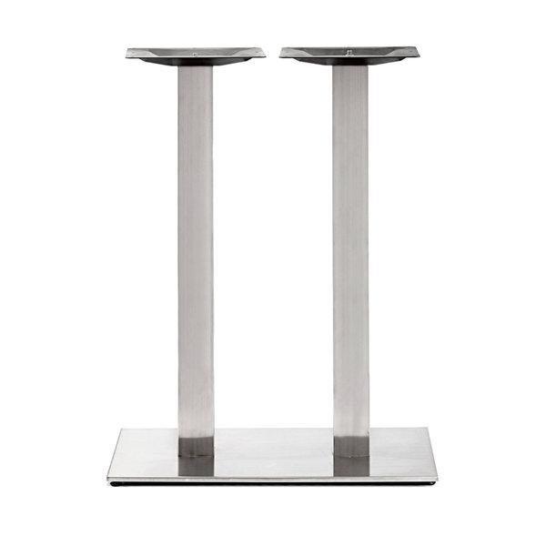 Gusseisen stehtischgestell (Füße) doppelt - Edelstahl optik - 8x8 cm - 40x70 cm (Fußplatte) - 108 cm hoch