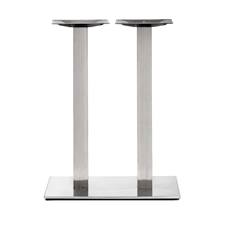 Gusseisen stehtischgestell (Füße) doppelt - Edelstahl optik - 8x8 cm - 40x70 cm (Fußplatte) - 3-Teilig - Hochtisch / Bartisch - Tischfuß / Mittelfuß - Beschichtet - Edelstahl look