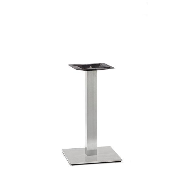 Gusseisen Bistrotisch Gestell (Fuß) - Edelstahl optik - 8x8 cm - 40x40 cm (Fußplatte) -72 cm hoch