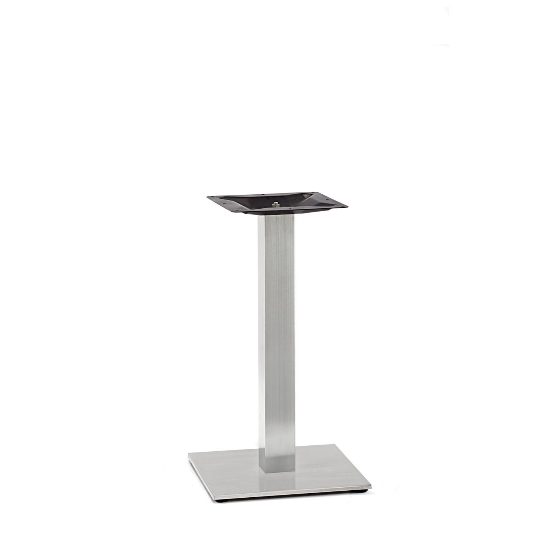 Gusseisen Bistrotisch Gestell (Fuß) - Edelstahl optik - 8x8 cm - 40x40 cm (Fußplatte) - 3-teilig - Gastro Tischgestell / Tischfuß / Mittelfuß - Rund / Quadratisch - Beschichtet - Edelstahl look