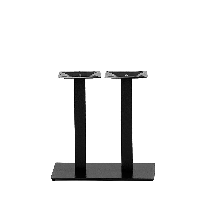 Gusseisen Bistrotisch Gestell (Füße) doppelt - 8x8 cm - 40x70 cm (Fußplatte) - 3-teilig - Gastro Tischgestell / Tischfuß / Mittelfuß - Beschichtet - Schwarz