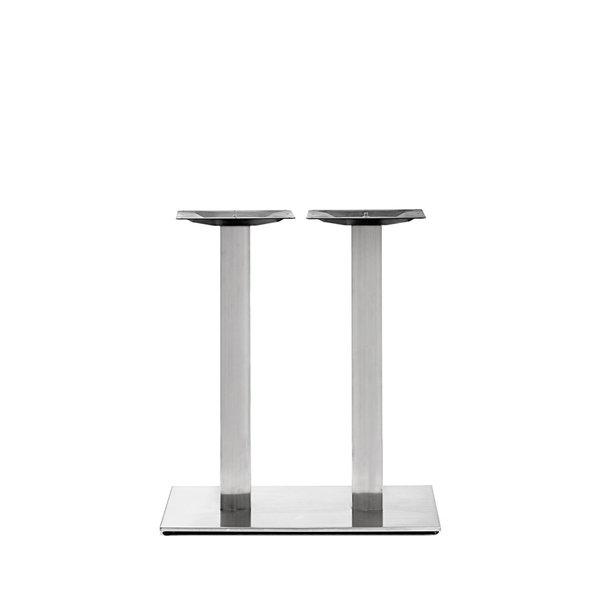 Gusseisen Bistrotisch Gestell (Füße) doppelt - Edelstahl optik - 8x8 cm - 40x80 cm (Fußplatte) -72 cm hoch
