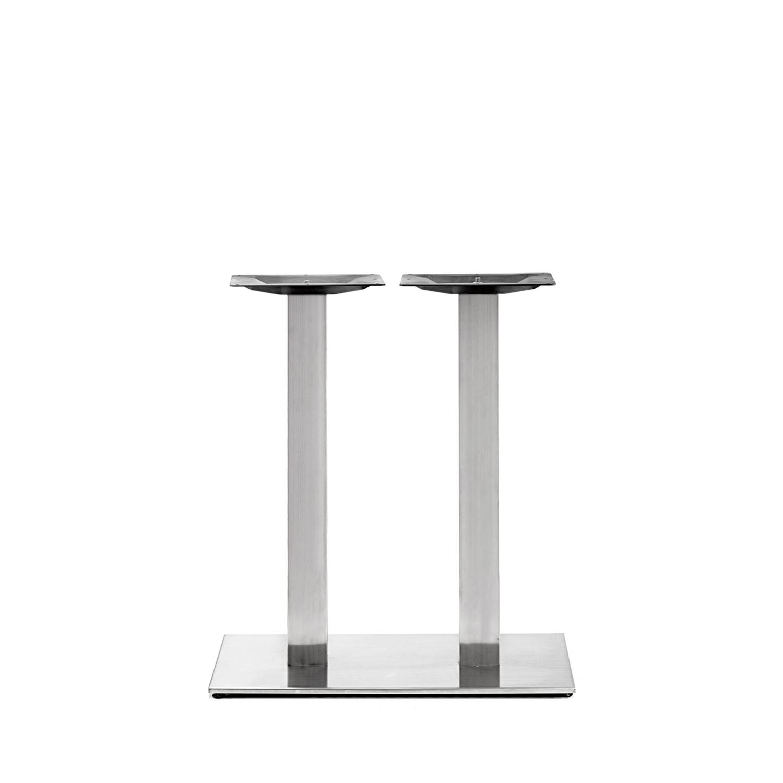 Gusseisen Bistrotisch Gestell (Füße) doppelt - Edelstahl optik - 8x8 cm - 40x80 cm (Fußplatte) - 3-teilig - Gastro Tischgestell / Tischfuß / Mittelfuß - Beschichtet - Edelstahl look