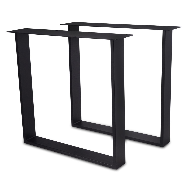 Tischbeine U Metall schlank - SET (2 Stück) - 2x10x0,3 cm - 78 cm breit - 72 cm hoch - U-form Tischkufen / Tischgestell beschichtet - Schwarz