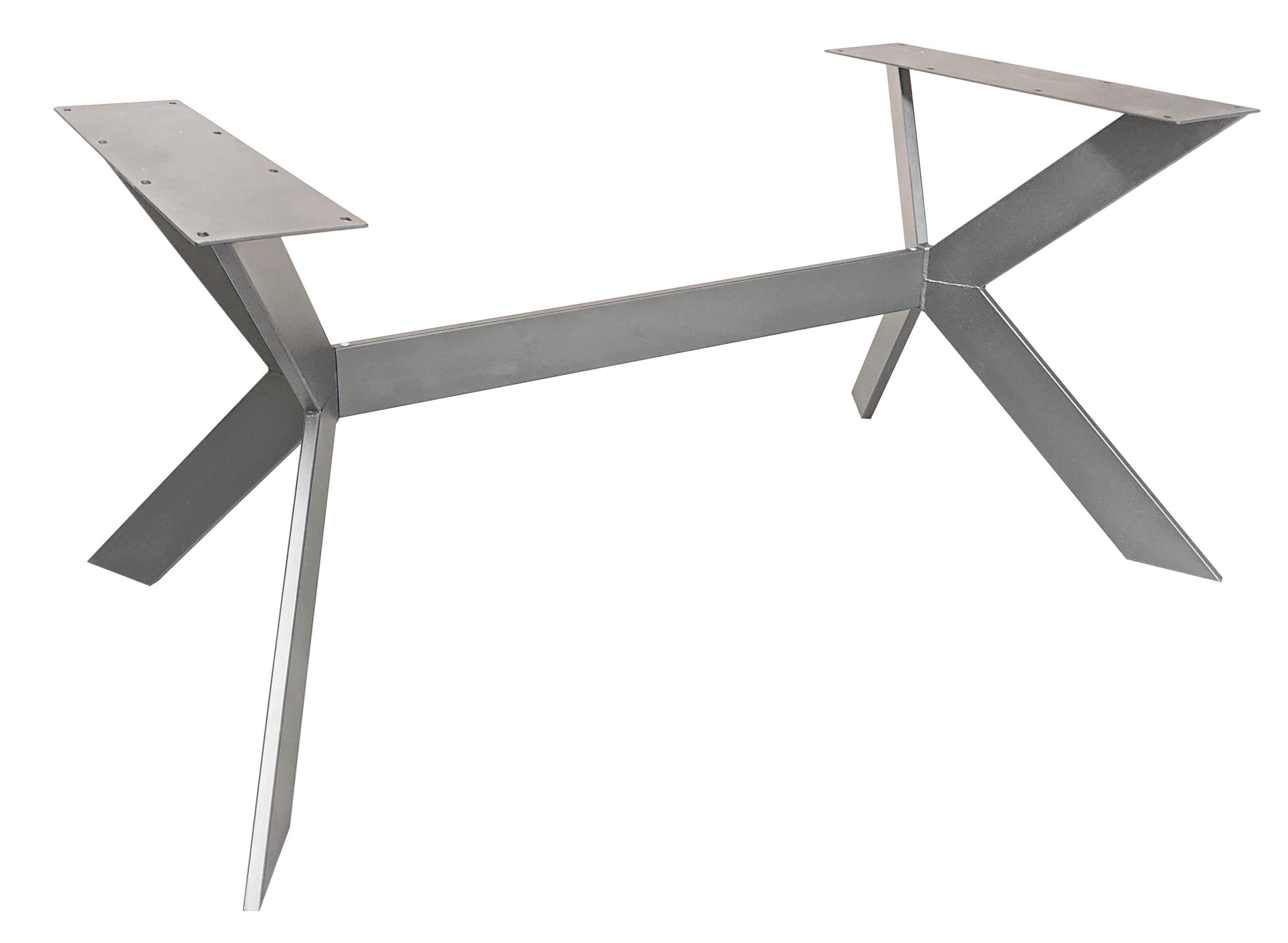 Tischgestell 3D X-Beine Frame Edelstahl schlank - 3-Teilig - 2x10 cm - 78x150 cm - 72cm hoch - Tischuntergestell - Rechteck
