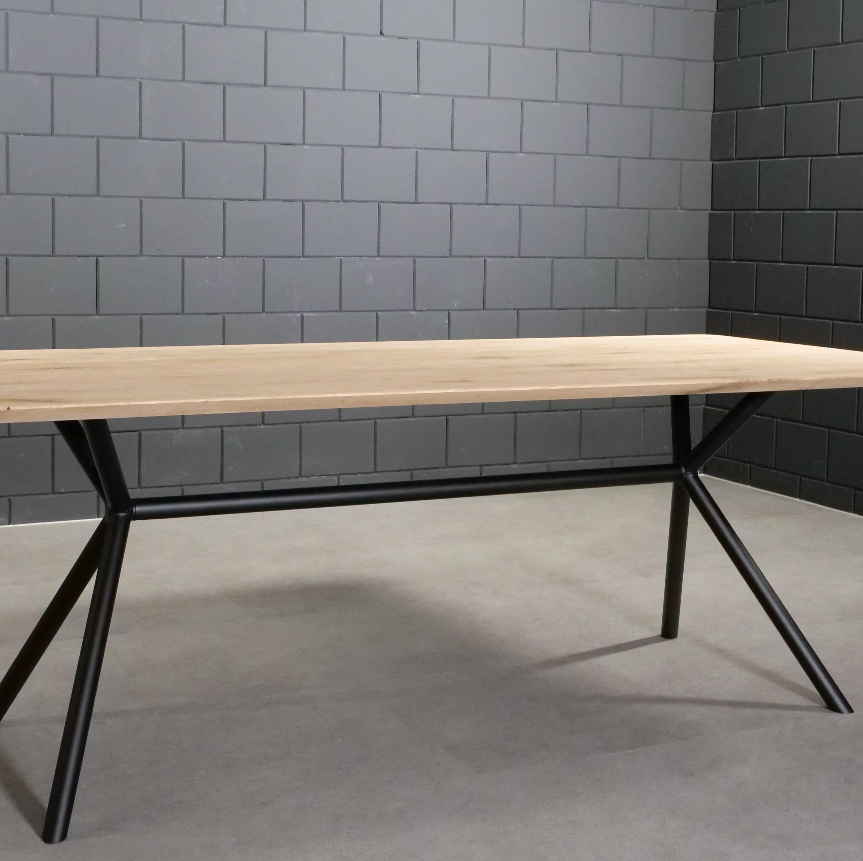 Tischgestell Metall 3D X-Beine Frame rund - 3-Teilig - 4,2 cm - 78x172 cm - 72cm hoch - Stahl Tischuntergestell - Rechteck - Beschichtet - Schwarz
