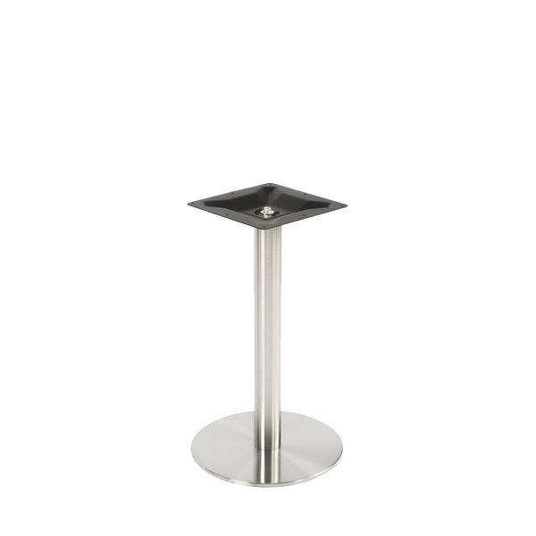 Gusseisen Bistrotisch Gestell (Fuß) rund - Edelstahl optik - 8 cm - 43 cm (Fußplatte) -72 cm hoch