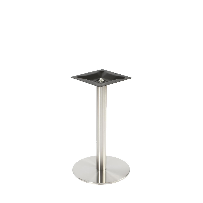Gusseisen Bistrotisch Gestell (Fuß) - Edelstahl optik - Durchmesser: 8 cm - Fußplatte durchmesser: 43 cm - 3-teilig - Gastro Tischgestell / Tischfuß / Mittelfuß - Rund / Quadratisch - Beschichtet - Edelstahl look