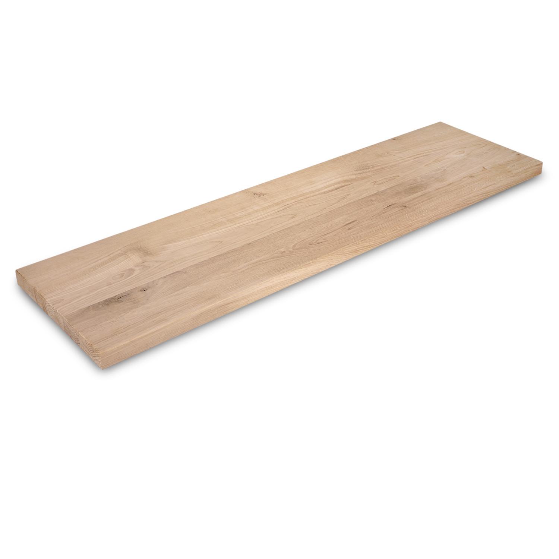 Wandregal Eiche schwebend - nach Maß - 3 cm dick - Eichenholz rustikal gebürstet - vorgebohrtes eichen Wandboard massiv - inklusive (Blind) -Halterungen - verleimt & künstlich getrocknet (HF 8-12%) - 15-27x50-300 cm