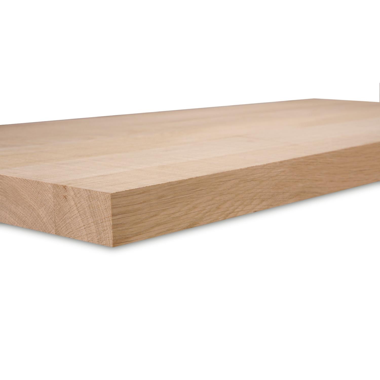 Wandregal Eiche schwebend - nach Maß - 4 cm dick - Eichenholz A-Qualität gebürstet- vorgebohrtes eichen Wandboard massiv - inklusive (Blind) -Halterungen - verleimt & künstlich getrocknet (HF 8-12%) - 15-27x50-300 cm