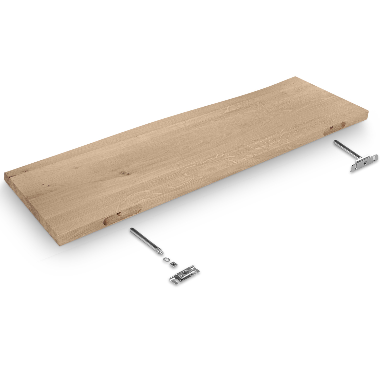 Wandregal Eiche schwebend - mit Baumkante (Optik) - nach Maß - 3 cm dick - Eichenholz rustikal gebürstet - vorgebohrtes eichen Wandboard massiv mit natürlichen Baumkant - inklusive (Blind) -Halterungen - verleimt & künstlich getrocknet (HF 8-12%) - 15-27x