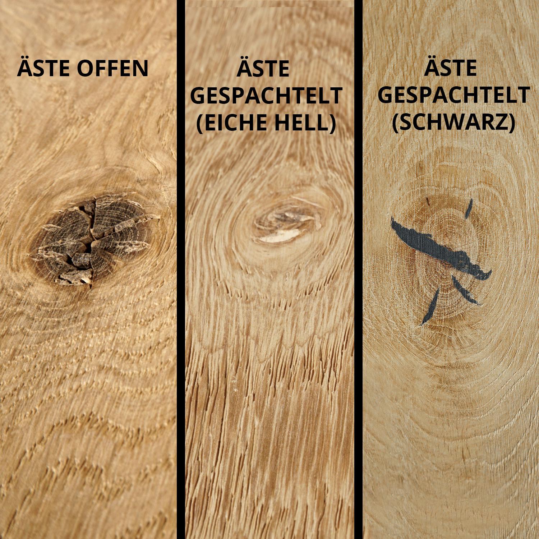 Wandregal Eiche schwebend - mit Schweizer Kante - nach Maß - 3 cm dick - Eichenholz rustikal gebürstet - vorgebohrtes eichen Wandboard massiv - inklusive (Blind) -Halterungen - verleimt & künstlich getrocknet (HF 8-12%) - 15-27x50-300 cm