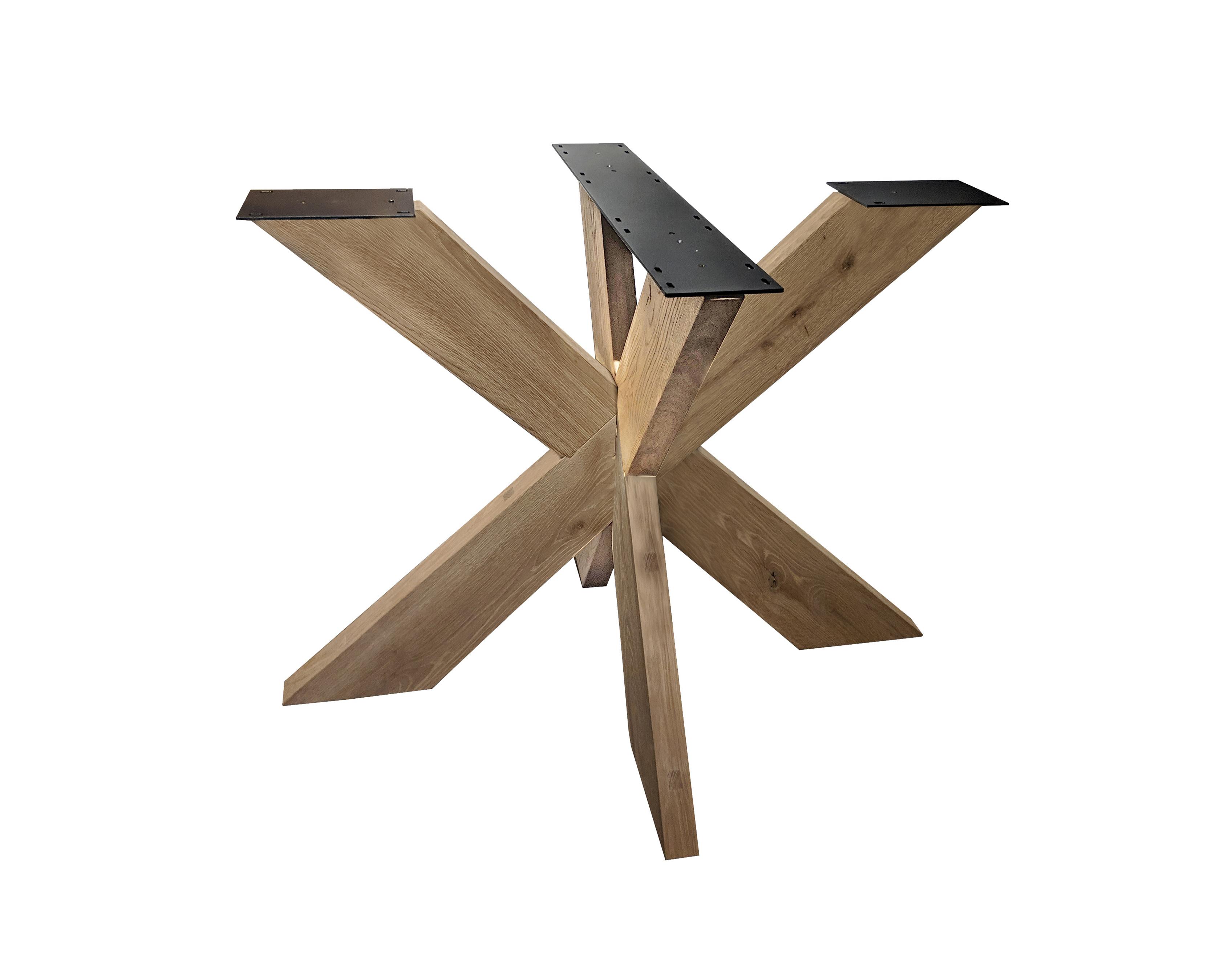 Tischgestell Eiche doppelt X - 6x16 cm - 130x130 cm  - 72 cm hoch - Eichenholz Rustikal - massives Tischunterstell rund (Mittelfuß) - Künstlich getrocknet HF 12%