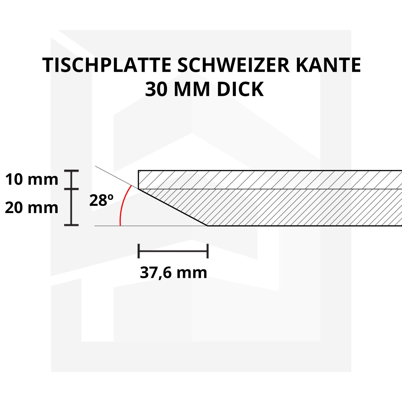 Tischplatte Eiche - Schweizer Kante - nach Maß - 3 cm dick - Eichenholz A-Qualität - Eiche Tischplatte massiv - verleimt & künstlich getrocknet (HF 8-12%) - 50-120x50-350 cm  - Gebürstet & geräuchert