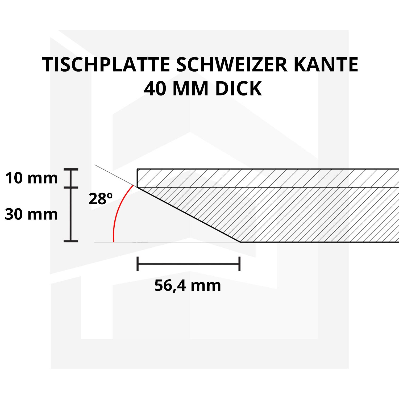 Tischplatte Eiche - Schweizer Kante - nach Maß - 4 cm dick - Eichenholz A-Qualität - Eiche Tischplatte massiv - verleimt & künstlich getrocknet (HF 8-12%) - 50-120x50-350 cm  - Gebürstet & geräuchert