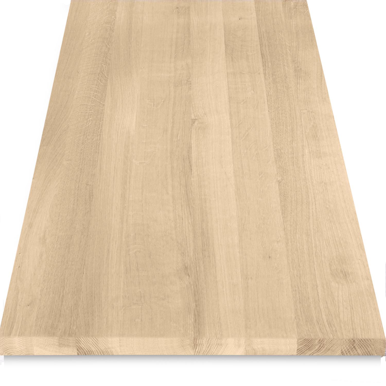 Waschtischplatte Eiche (mit Loch / Löchern) - nach Maß - 4 cm dick (massivholz) - Eichenholz A-Qualität - Eichen Waschtisch / Waschbecken Unterschrank (für Aufsatzwaschbecken) - verleimt & künstlich getrocknet (HF 8-12%) - 15-120x20-350 cm