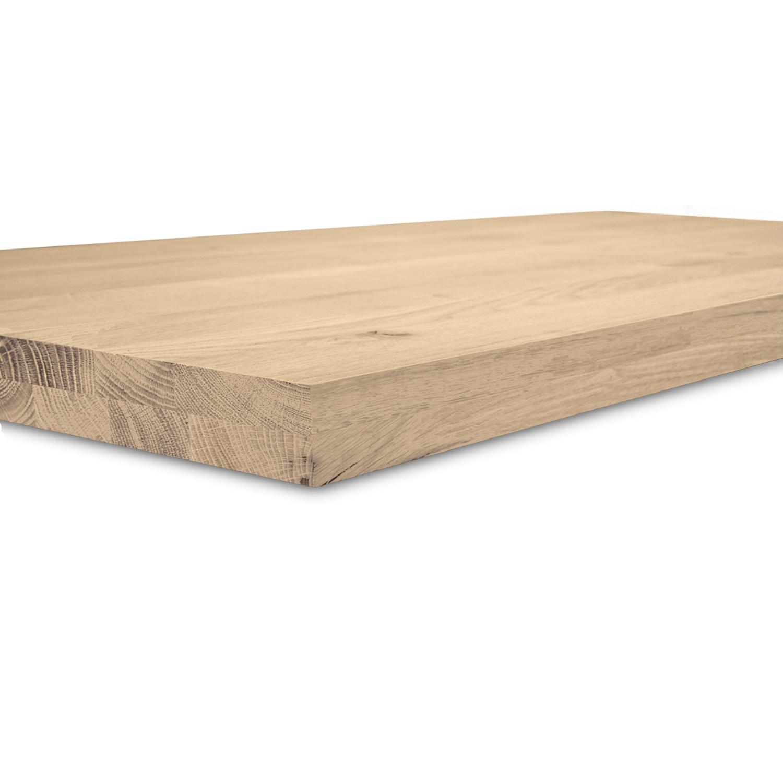 Waschtischplatte Eiche (mit Loch / Löchern) - nach Maß - 4 cm dick (2-lagig massivholz) - Eichenholz rustikal - Gebürstet - Eichen Waschtisch / Waschbecken Unterschrank (für Aufsatzwaschbecken) - verleimt & künstlich getrocknet (HF 8-12%) - 15-120x20-350