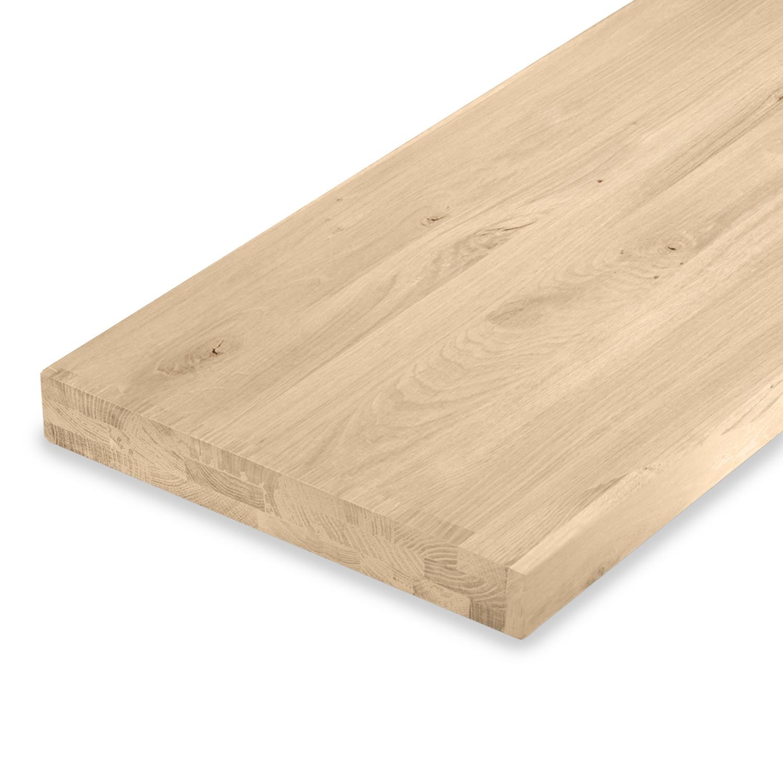 Waschtischplatte Eiche (mit Loch / Löchern) - nach Maß - 6 cm dick (3-lagig aufgedoppelt) - Eichenholz rustikal - Gebürstet - Eichen Waschtisch / Waschbecken Unterschrank (für Aufsatzwaschbecken) - verleimt & künstlich getrocknet (HF 8-12%) - 15-120x20-35