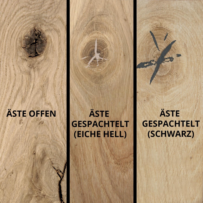 Waschtischplatte Eiche (mit Loch / Löchern) - mit Baumkante (Optik)- nach Maß - 4 cm dick (massivholz) - Eichenholz rustikal - Eichen Waschtisch / Waschbecken Unterschrank (für Aufsatzwaschbecken) - verleimt & künstlich getrocknet (HF 8-12%) - 15-120x20-3