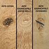 Waschtischplatte Eiche (mit Loch / Löchern) - mit Baumkante (Optik) - nach Maß - 4 cm dick (massivholz) - Eichenholz rustikal - Gebürstet - Eichen Waschbecken Unterschrank (für Aufsatzwaschbecken) - verleimt & getrocknet (HF 8-12%) - 15-120x20-350 cm