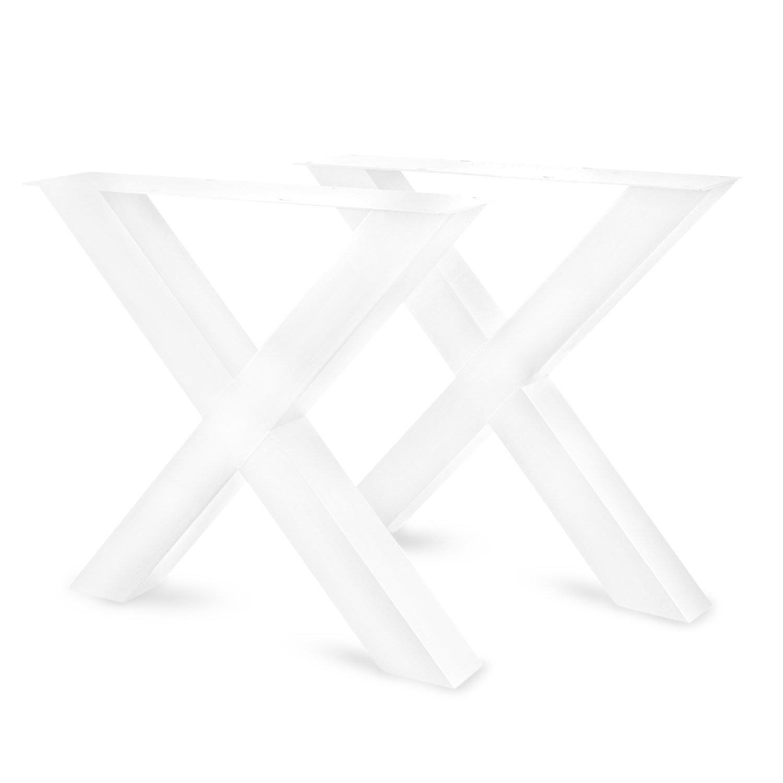 Tischbeine X Metall SET (2 Stück) - 10x10 cm - 78 cm breit - 72 cm hoch - X-form Tischkufen / Tischgestell beschichtet - Schwarz, Anthrazit, Weiß