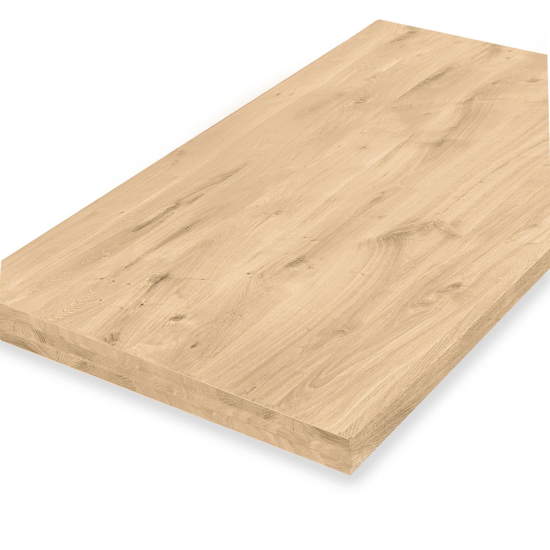 Tischplatte Eiche nach Maß - 6 cm dick (3-lagig) - Eichenholz rustikal - Gebürstet - Eiche Tischplatte aufgedoppelt - verleimt & künstlich getrocknet (HF 8-12%) - 50-120x50-350 cm