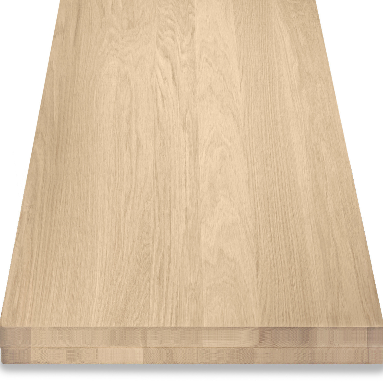 Leimholzplatte Eiche nach Maß - 8 cm dick (2-lagig) - Eichenholz A-Qualität- Gebürstet - Eiche Holzplatte - verleimt & künstlich getrocknet (HF 8-12%) - 15-120x20-300 cm