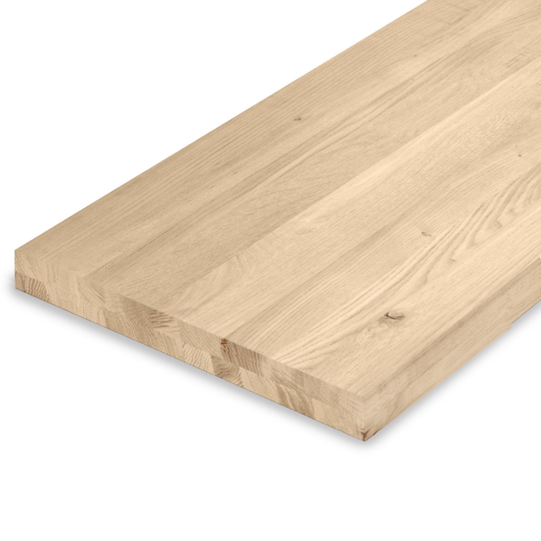Leimholzplatte Eiche nach Maß - 5 cm dick (2-lagig) - Eichenholz rustikal - Gebürstet - Eiche Massivholzplatte - verleimt & künstlich getrocknet (HF 8-12%) - 15-120x20-300 cm