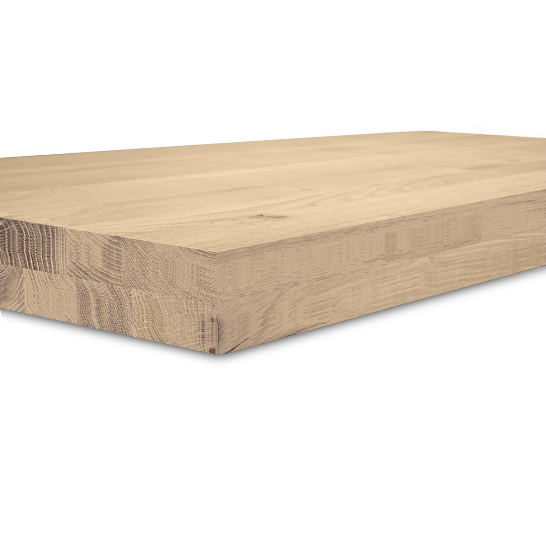 Leimholzplatte Eiche nach Maß - 8 cm dick (2-lagig) - Eichenholz rustikal - Eiche Holzplatte - verleimt & künstlich getrocknet (HF 8-12%) - 15-120x20-300 cm