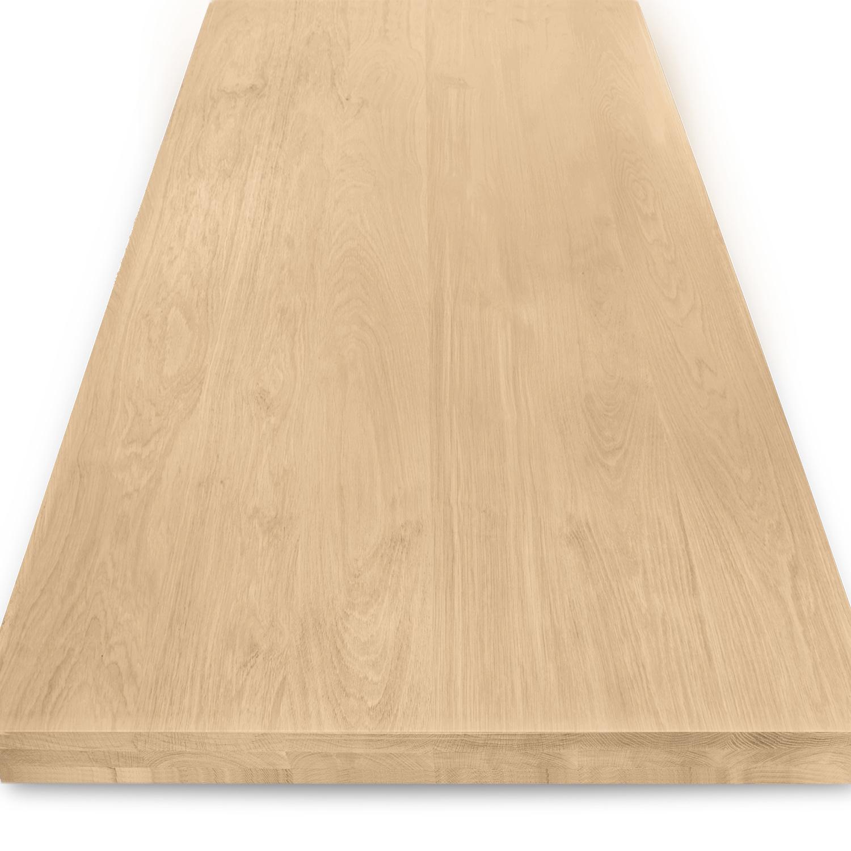 Tischplatte Eiche nach Maß - 6 cm dick (2-lagig) - Eichenholz A-Qualität - Gebürstet - Eiche Tischplatte - verleimt & künstlich getrocknet (HF 8-12%) - 50-120x50-300 cm