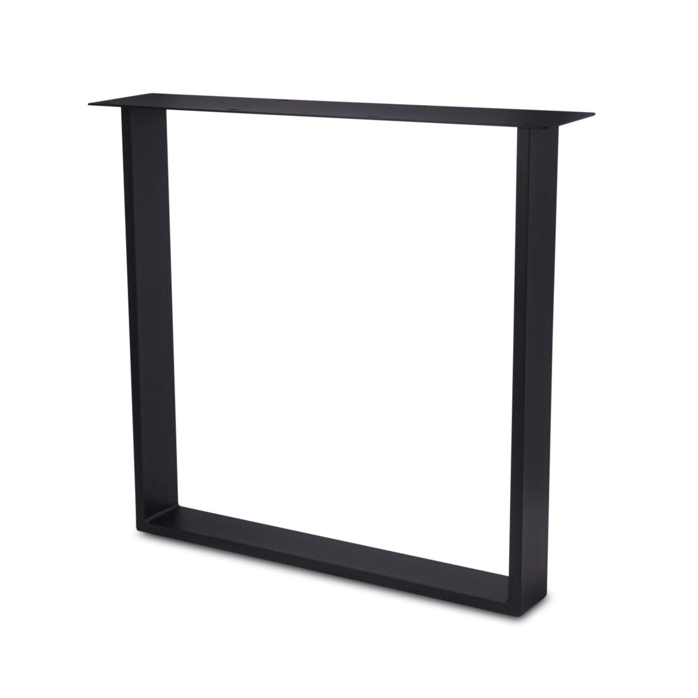 Tischbeine U Metall schlank - SET (2 Stück) - 2x10 cm - 78 cm breit - 72 cm hoch - U-form Tischkufen / Tischgestell beschichtet - Schwarz