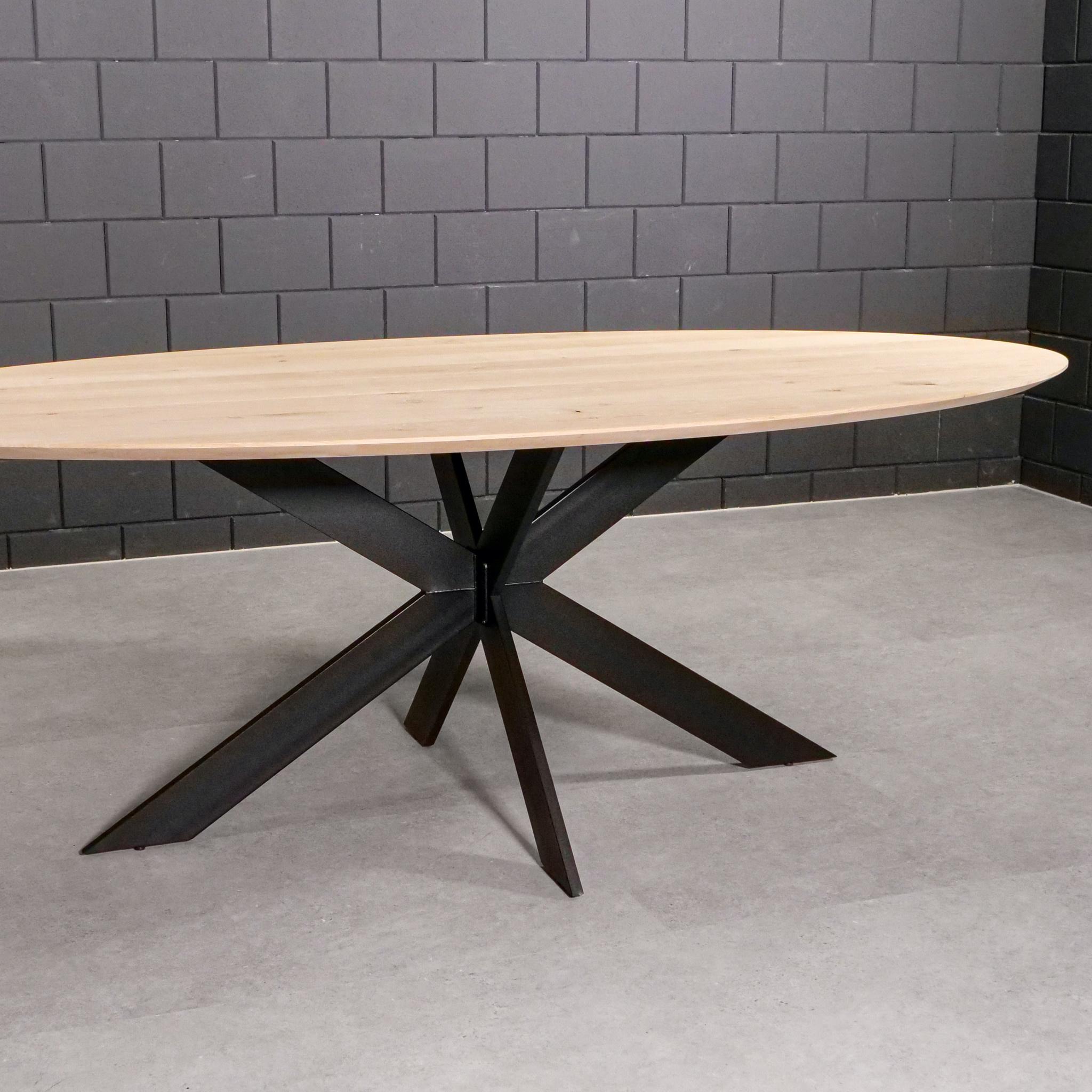 Tischgestell Metall Spider schlank- 3-Teilig - 2x10 cm - 90x180 cm - 72 cm hoch - Stahl Tischuntergestell / Mittelfuß Rechteck & oval - Beschichtet - Schwarz