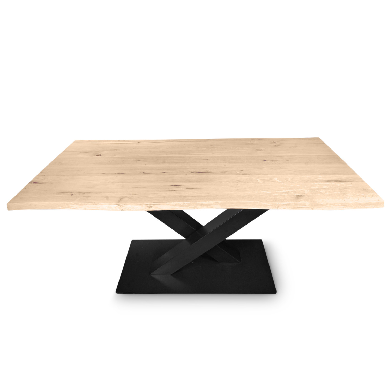 Tischgestell Metall V Bein auf Fuß - 3-Teilig - 10x10 cm - 78 cm breit - 72cm hoch - Fußgröße: 48x78 cm - Stahl Tischuntergestell / Mittelfuß Rechteck, oval & gross rund - Beschichtet - Schwarz