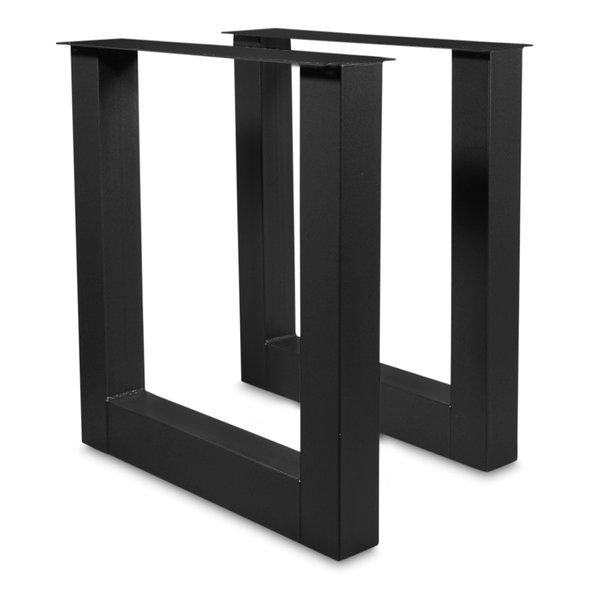 Stehtisch / Bartisch Beine U Metall SET (2 Stück) - 10x10 cm - 78 cm breit - 90 cm hoch - Schwarz